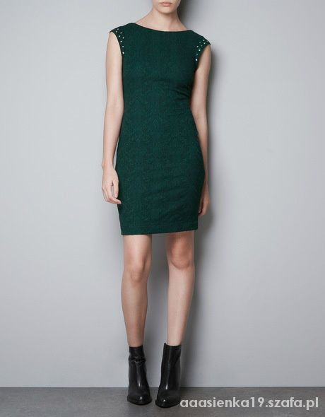 4909296091 zara sukienka zielona 36 wycięte plecy zamek w Suknie i sukienki ...