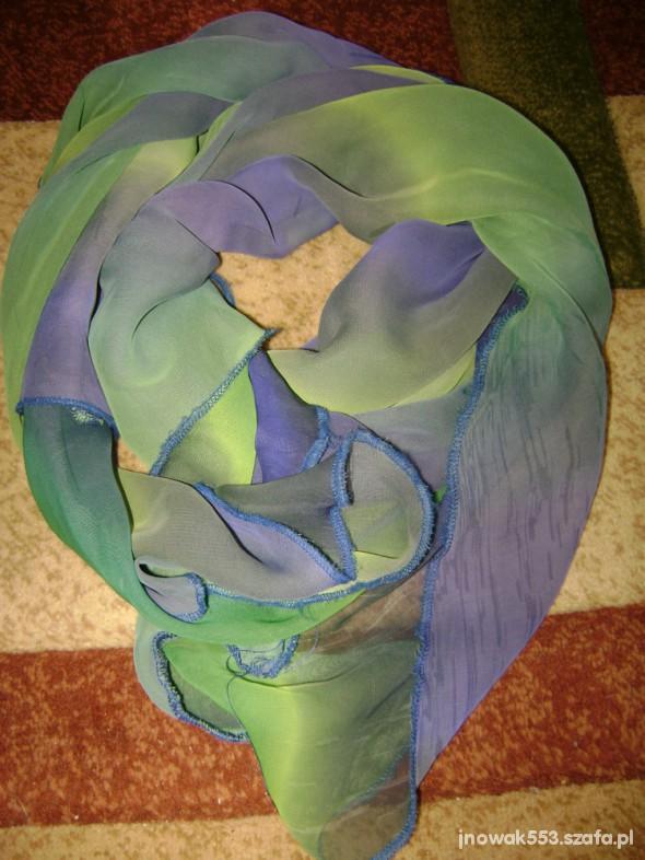 Chusty i apaszki cieniowana niebiesko zielona