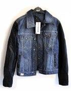 kurtka jeansowa katana ze skórzanymi rękawami