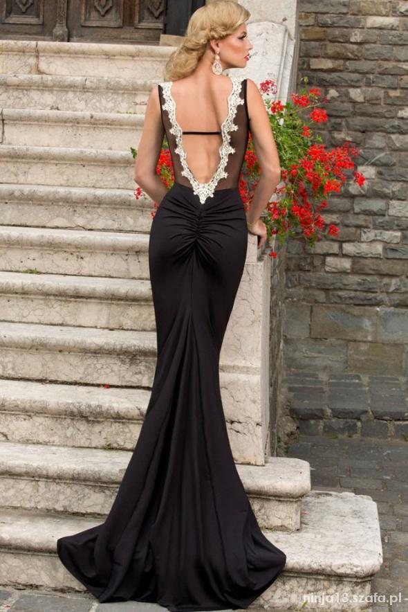aad7fc58a5 Suknia wieczorowa czarna bez pleców koronka tren w Suknie i sukienki ...
