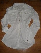 Nowa biała koszula ze złotymi guzikami Sinsay