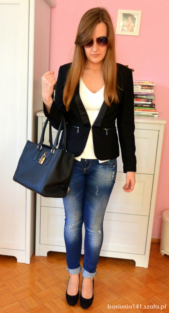 Mój styl Marynarka i przetarte jeansy