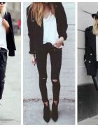 all black plus biała bluzka mój styl inspiracja