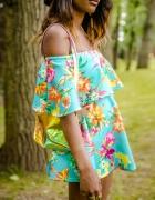 Sukienka miętowa kwiaty floral BEAU BOUTIQUE M L X