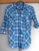 koszula w niebiesko białą kratke