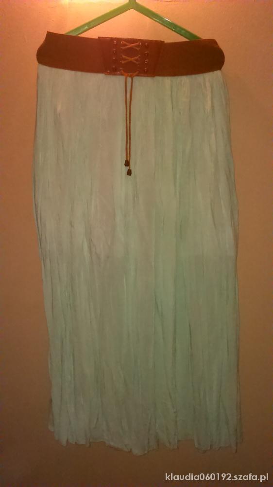Spódnice Długa MIĘTOWA spódnica na gumce
