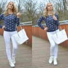 White and navy blue