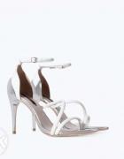szpilki sandały szaro srebrne zara