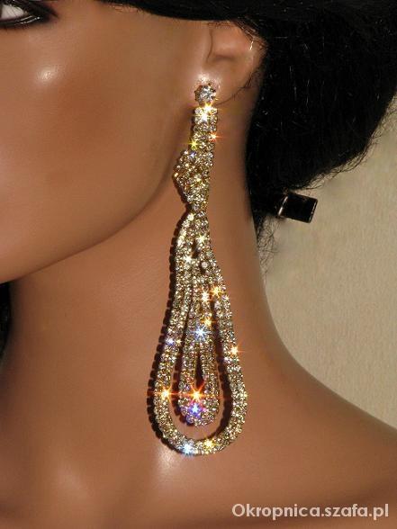Biżuteria Duże kolczyki z cyrkoniami jetami kamieniami