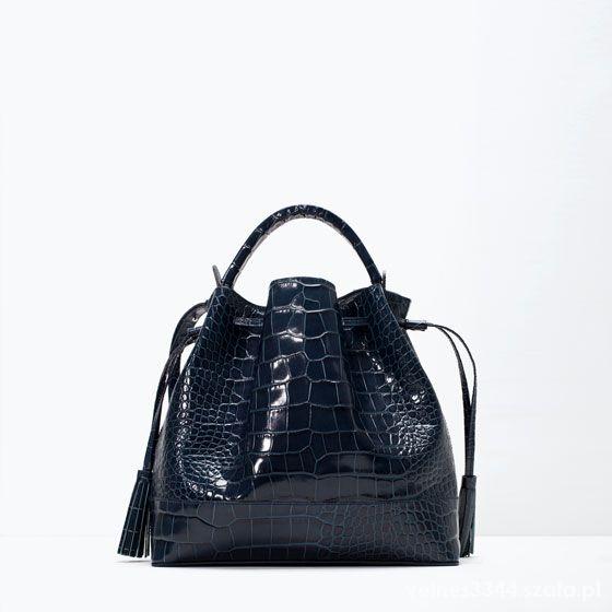 e743cea2083e1 torba Zara worek we wzór imitujący krokodylą skórę w Torebki na co ...