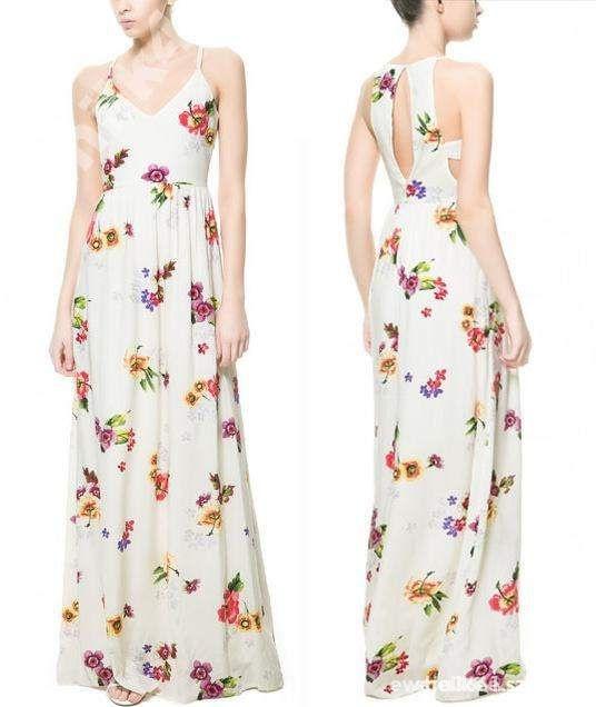 sukienka maxi kwiaty zara 38 M tanio w Suknie i sukienki