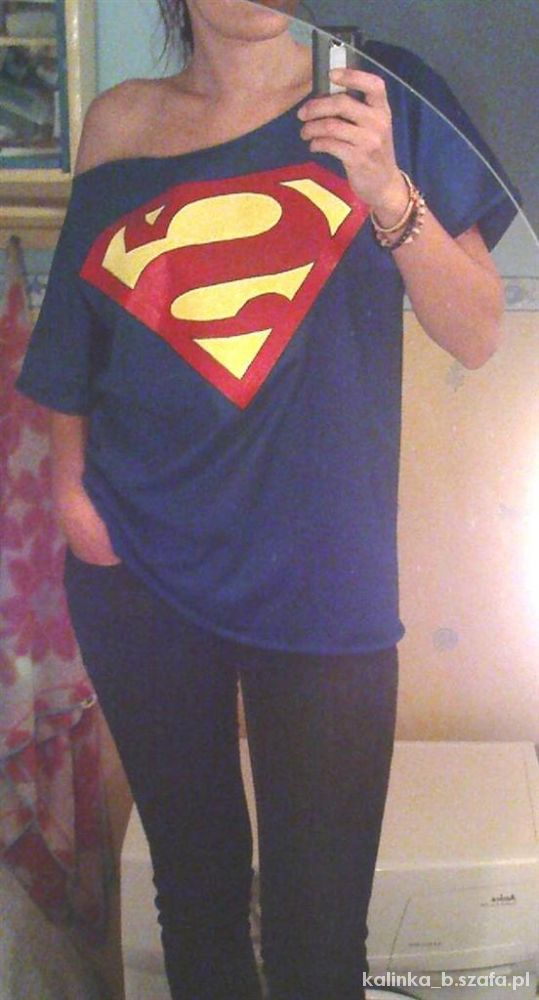 kobaltowy oversize off shoulders Superman