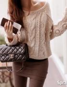 swetere sweterek capuccino beżowy ciemny beż...