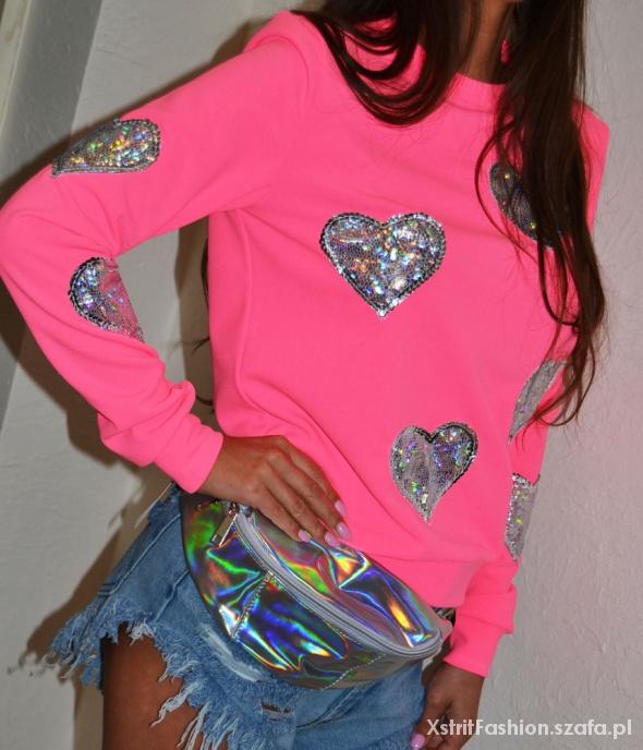 Bluzy Designerska bluza serca PINK róż by XF