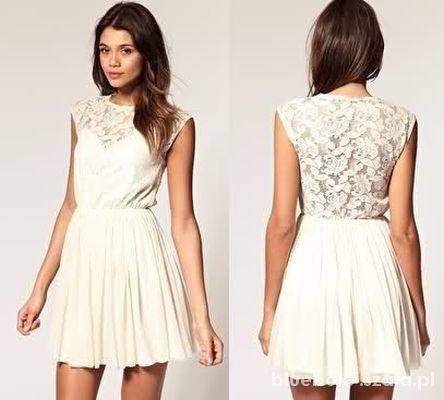 9214dcee75 ASOS lace dress koronkowa sukienka ecru 36 S w Suknie i sukienki ...