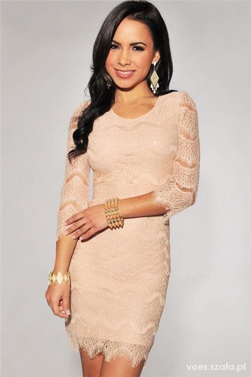 33a3e16ed6bd94 Suknie i sukienki koronkowa sukienka nude turkus zip cielista koronk