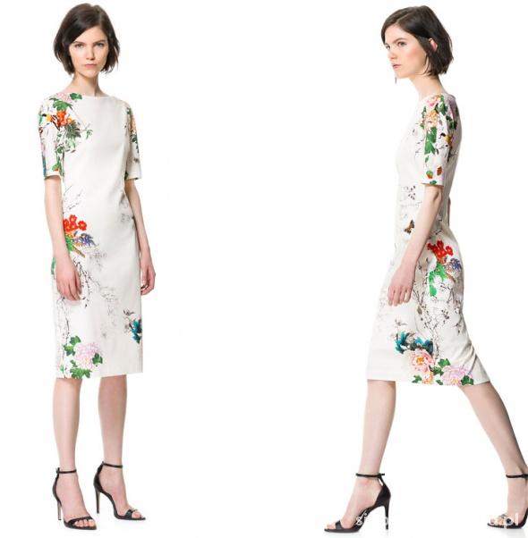 03d1c26f0d Zara floral kwiaty sheinside biała ołówkowa w Suknie i sukienki ...
