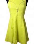 Rozkloszowana limonkowa sukienka polska 38 M nowa