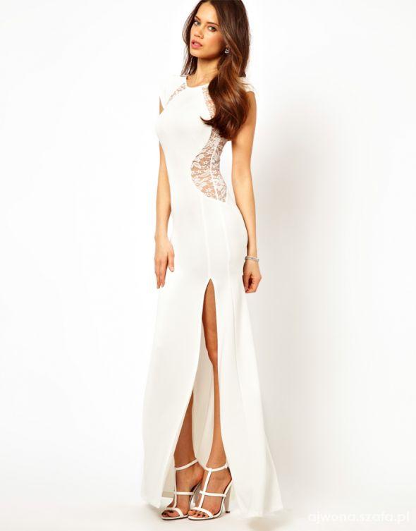 06faab37 Sukienka maxi TFNC LONDON BY ASOS kremowa rozm 36 w Suknie i ...