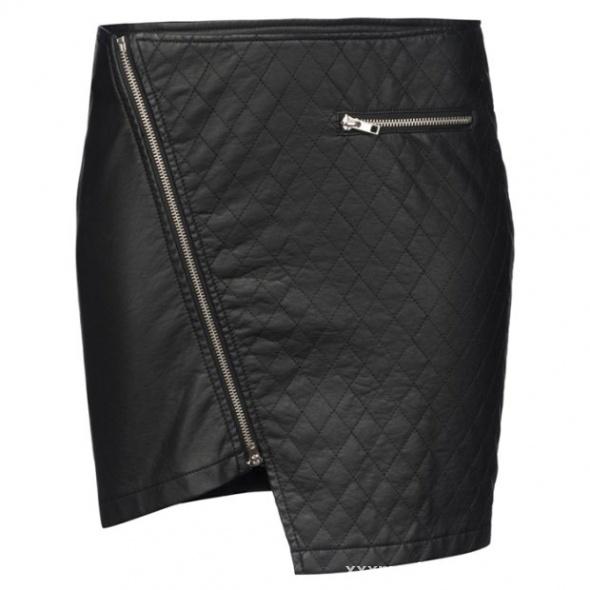 Ubrania asymetryczna spódniczka new yorker skórzana