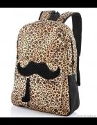 Plecak leopard wąsy moustache panterka centki blog...