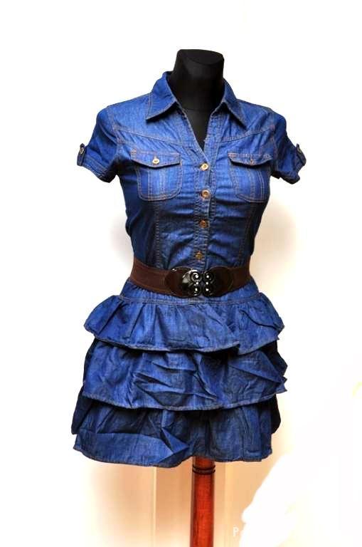 Śliczna jeansowa sukienka z falbankami rozm M