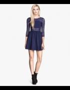 sukienka H&M granatowa koronka XS...