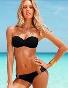 bandeau czarne bikini koła tanio