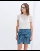 spódniczka ZARA niebieska jeans koszulowa 34 XS...