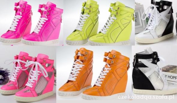 Sneakers sneakersy trampki koturn casadei neon w Trampki