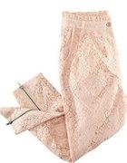 Pudrowe koronkowe spodnie z zipem H&M