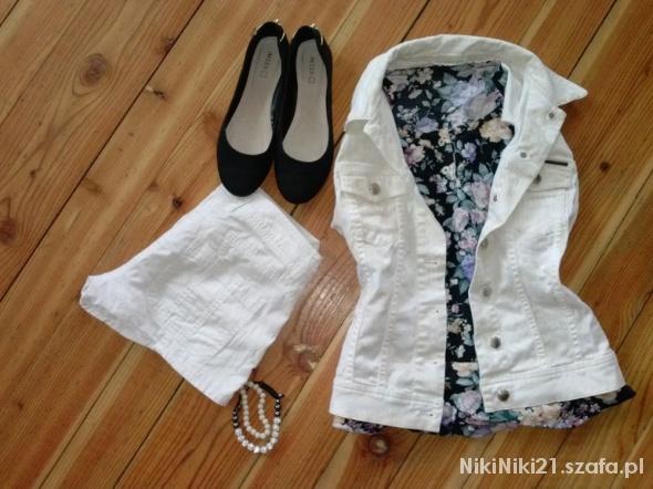 Codzienne Biała Katanka i Floral Bluzeczka
