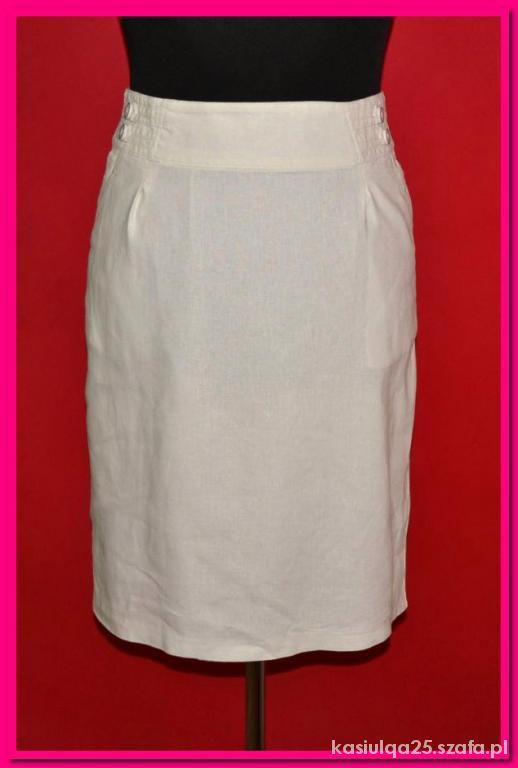 Spódnice Biała lniana spódnica