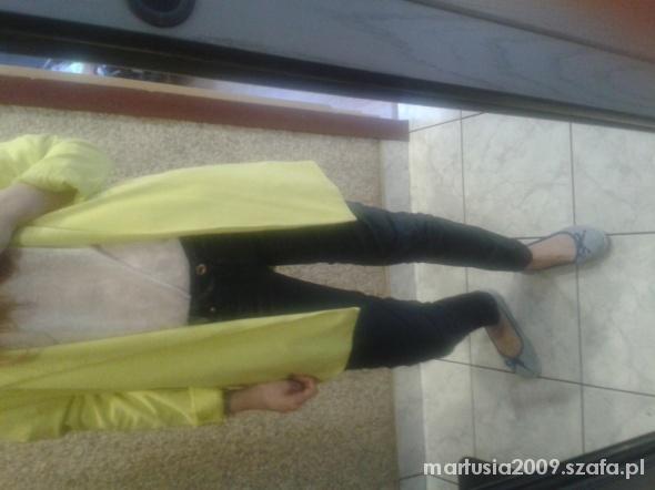 Codzienne Żółta marynarka ala skórzane spodniee