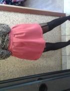 Różowa spódnica koszula panterka