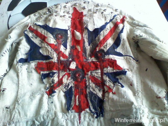 Kurtka Shelly d Inferno punk union jack ripped...