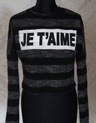 sweterek czarny krótki S