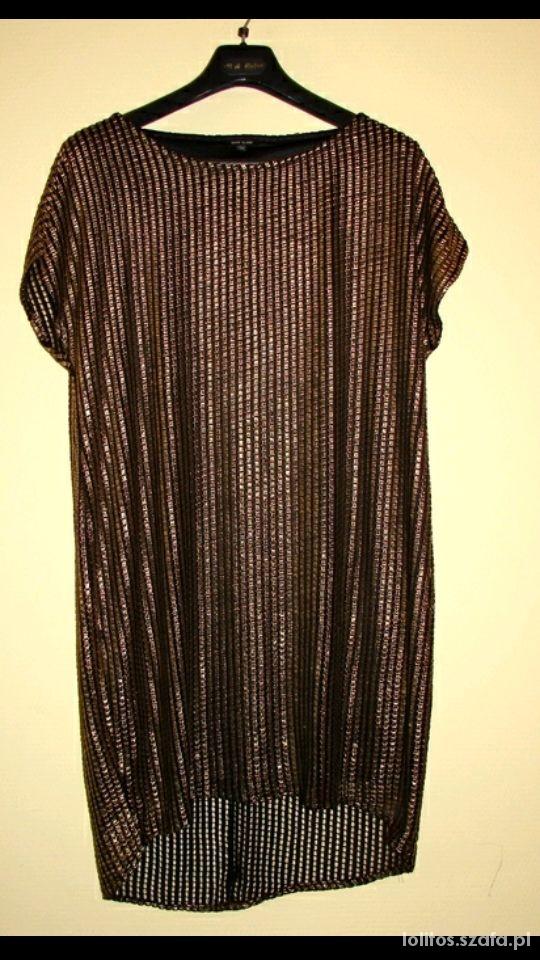 Ubrania River Island sukienka tunika trapez zlota