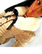 pikowana czarna kurtka z futerkiem S