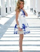 żakardowa białoniebieska kwiaty free wysyłka