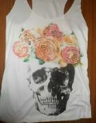Bluzka pastel goth czaszka roze bokserka
