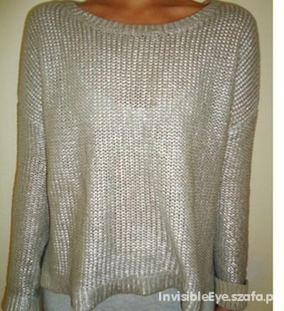 sweter szary metaliczny zara