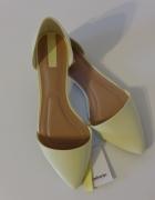 Stradivarius baleriny w szpic pastelowe żółte
