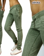 oliwkowe khaki spodnie dresowe dresy