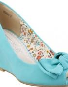 CCC buty na koturnie turkusowe...