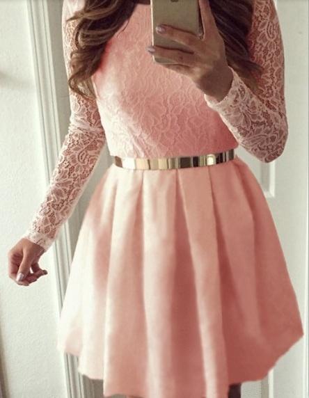 Sukienka koronkowa pudrowy roz blog new