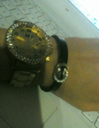 złoty zegarek cyrkonie i bransoletka DG...
