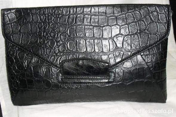 4295b316389ca czarna kopertówka skóra węża skóra krokodyla w Torebki wieczorowe ...