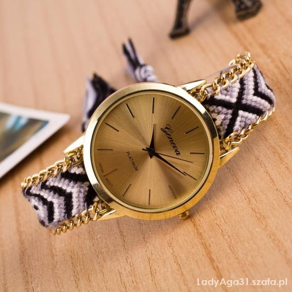 zegarek geneva bransoletka pleciona łańcuszek hit