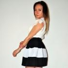 Spódniczka w PASY Czarno Biało Czarna rozkloszowan